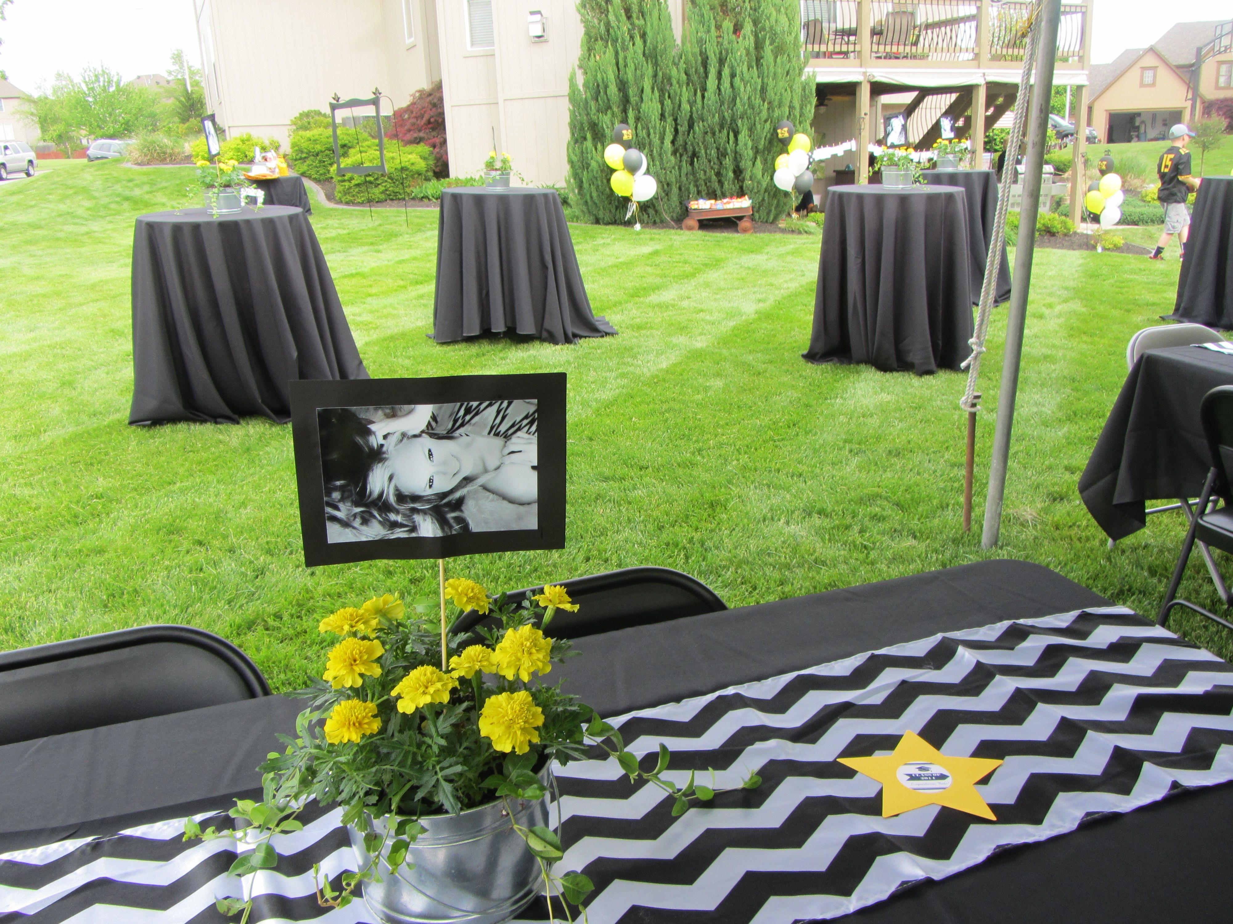 Backyard Party Ideas For Graduation  Outdoor Graduation Party Black White Yellow