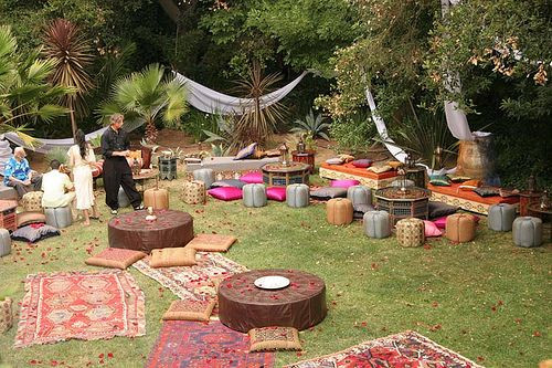 Backyard Party Seating Ideas  Moroccan garden party reception ideas