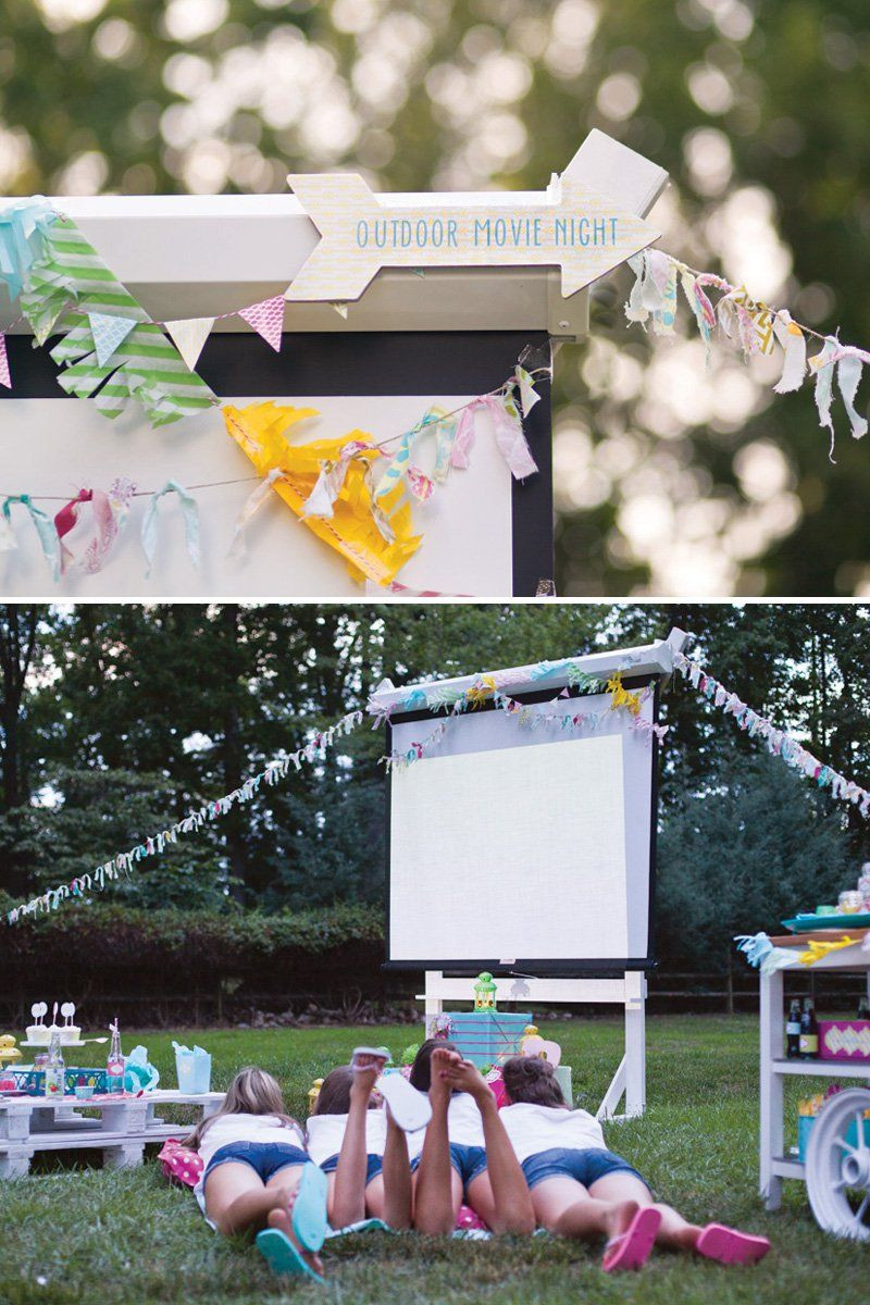 Backyard Sweet Sixteen Party Ideas  Trendy Outdoor Movie Night Teen Birthday Party
