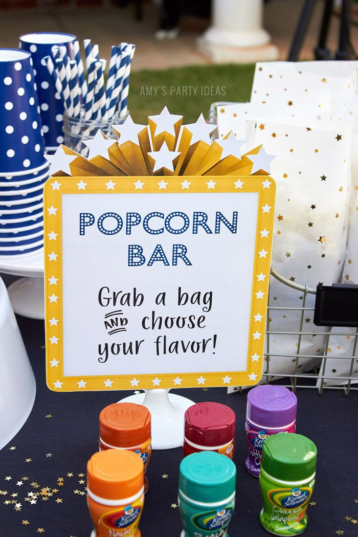 Backyard Teenage Birthday Party Ideas  Outdoor Movie Party Popcorn Bar Sign PRINTABLE INSTANT