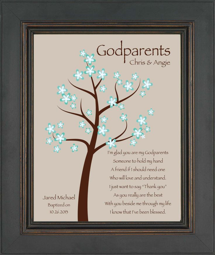 Baptism Gift Ideas From Godmother  Godparents t 8x10 Print Personalized t for