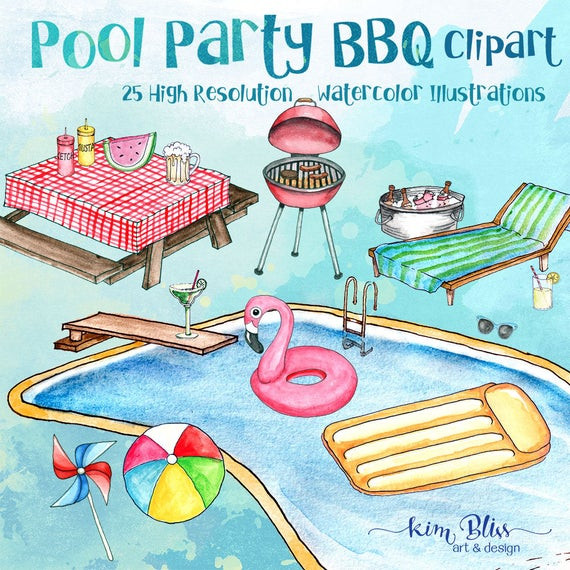Bbq Pool Party Ideas  Clip Art Pool Party BBQ Clipart Summer Clip Art 25