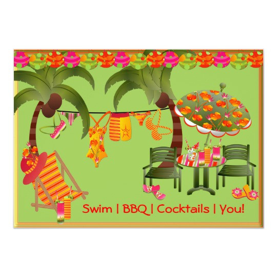 Bbq Pool Party Ideas  Adult Pool Party BBQ Cocktails Invitation