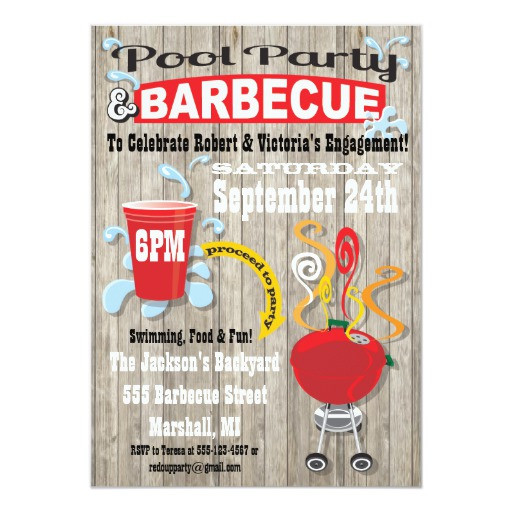 Bbq Pool Party Ideas  Pool & Barbecue Engagement Party Invitations