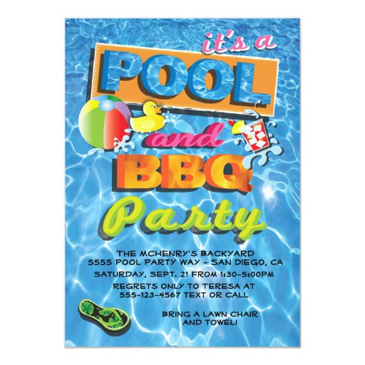 Bbq Pool Party Ideas  Pool and BBQ Party Invitations