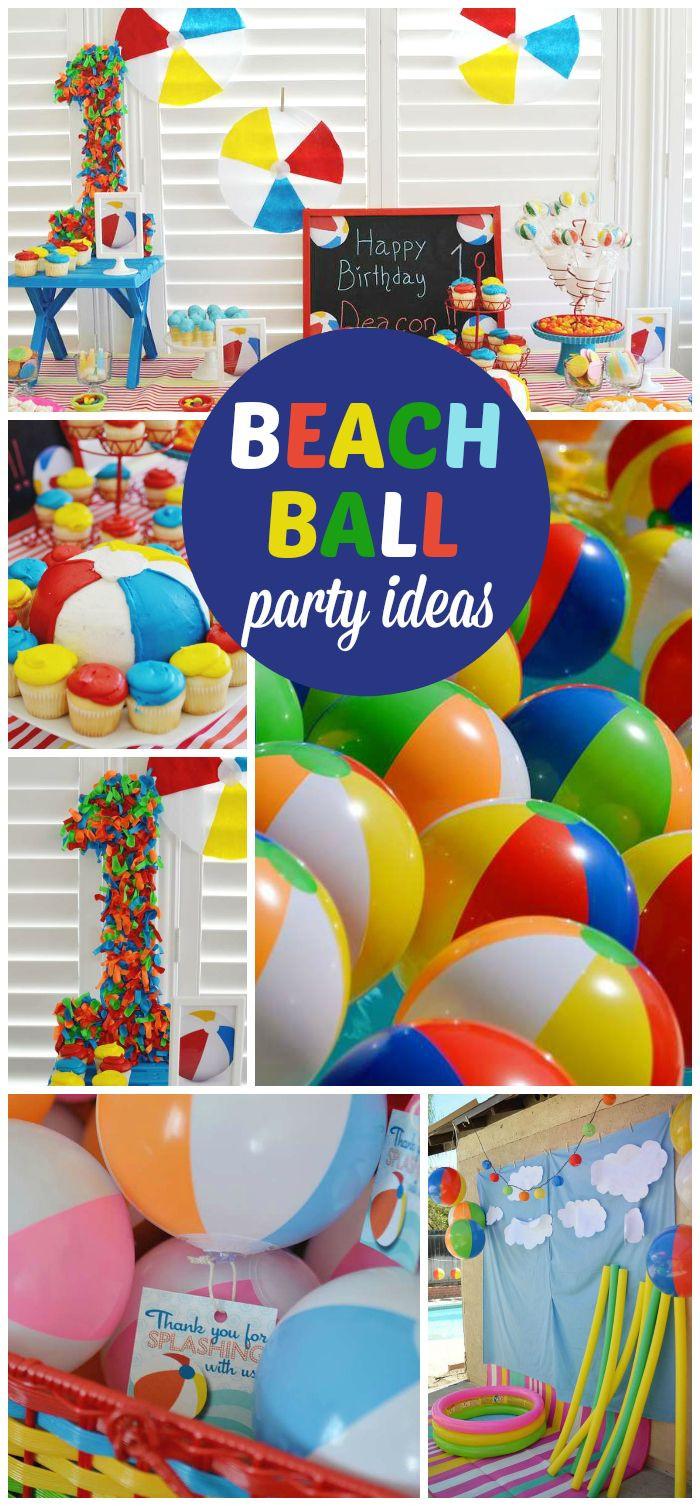 """Beach Ball Pool Party Ideas  Beach ball Birthday """"Beach ball first birthday"""" in 2019"""