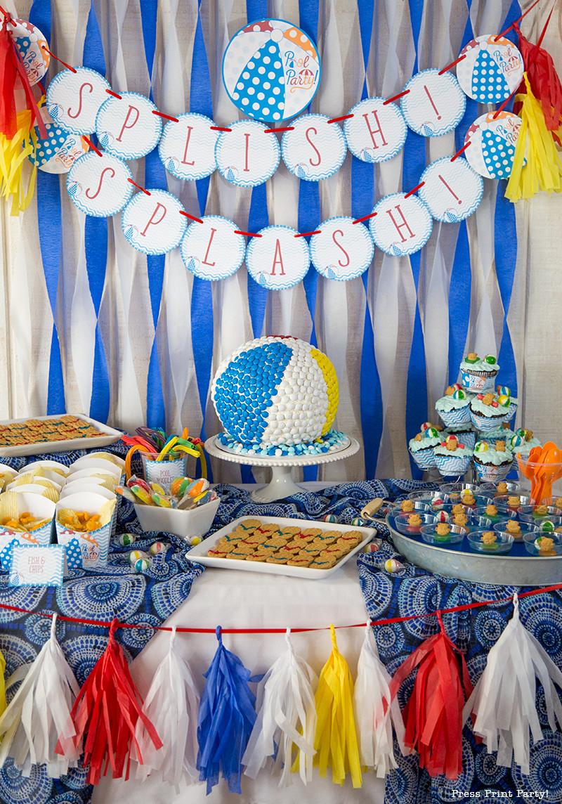 Beach Ball Pool Party Ideas  Beach Ball Pool Party Birthday Bash Press Print Party