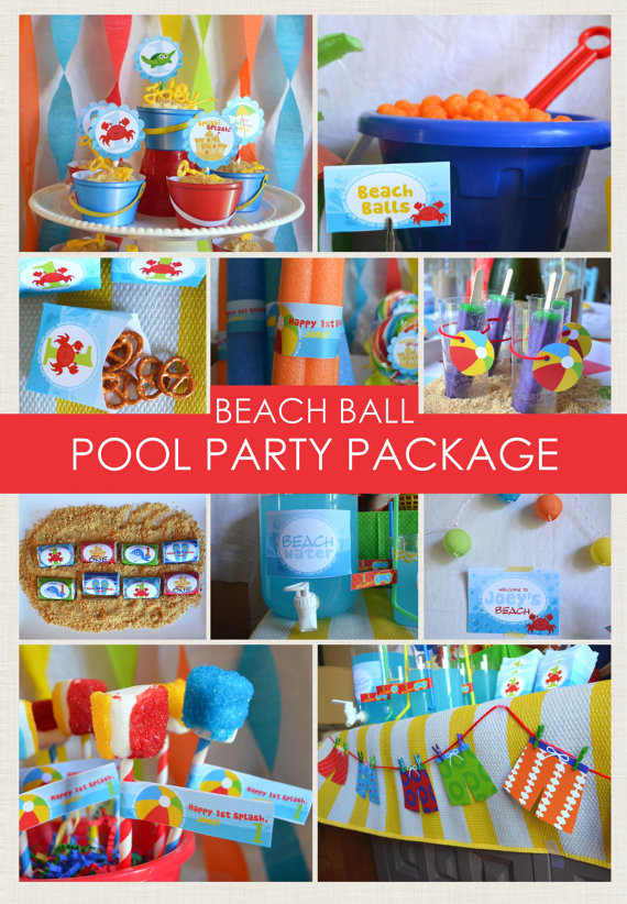 Beach Ball Pool Party Ideas  Beach Ball Party Package Beach Party Pool Party Sea