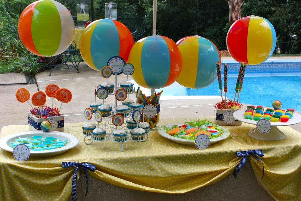 Beach Ball Pool Party Ideas  Pool Summer Party Ideas 2 of 16