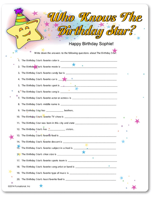 Best Birthday Party Games  Printable Who Knows The Birthday Star