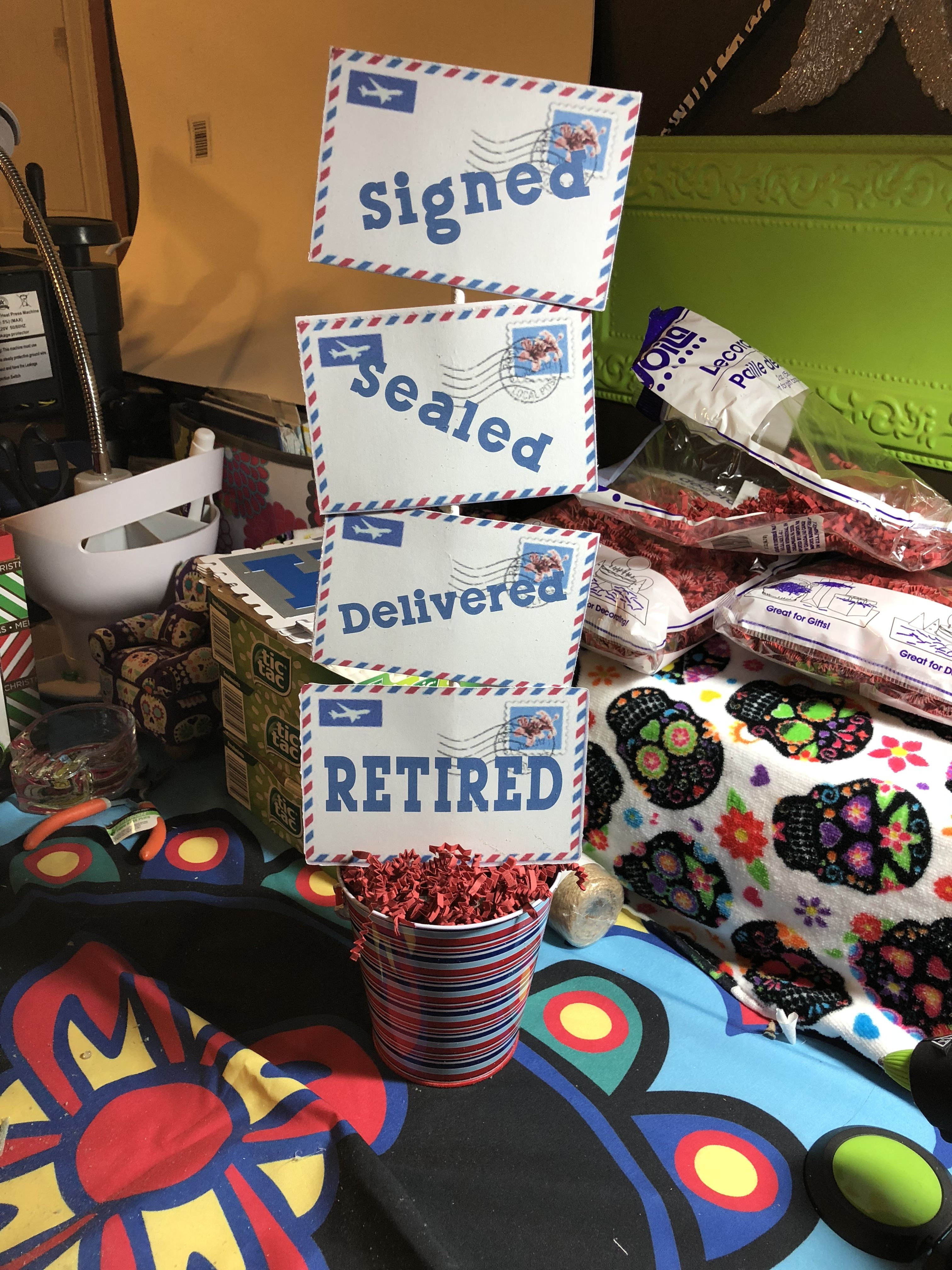Best Retirement Party Ideas  Signed sealed delivered retired decor Postman retirement