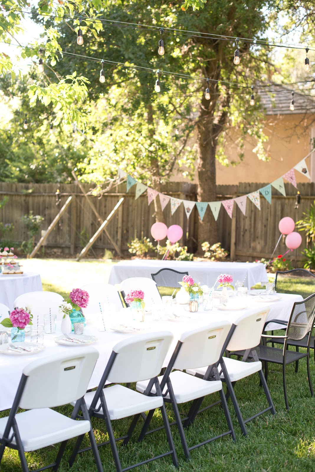 Birthday Party Ideas Backyard  Domestic Fashionista Backyard Birthday Fun Pink