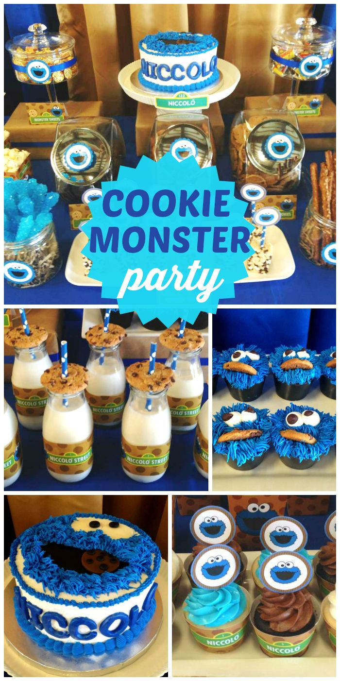 Birthday Party Ideas For Boys  An awesome Cookie Monster boy first birthday party with an