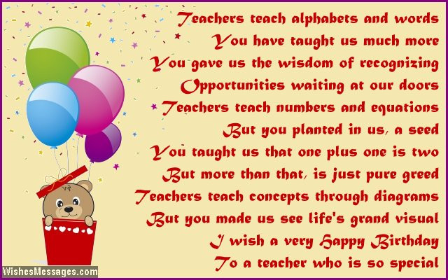 Birthday Quotes For Teacher  Birthday poems for teacher – WishesMessages
