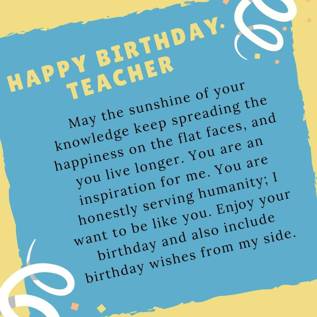 """Birthday Quotes For Teacher  Best """"Birthday Wishes For Teacher"""" Quotes Messages"""