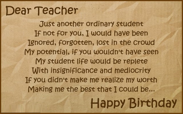Birthday Quotes For Teacher  Happy birthday wishes for teacher images quotes – Funpro