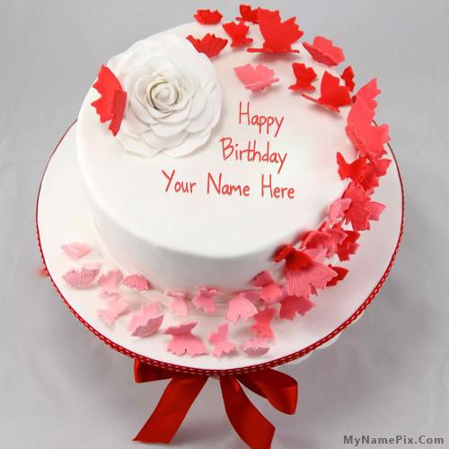 Birthday Wishes Cake With Name  Write name on Butterflies Birthday Cake happy birthday