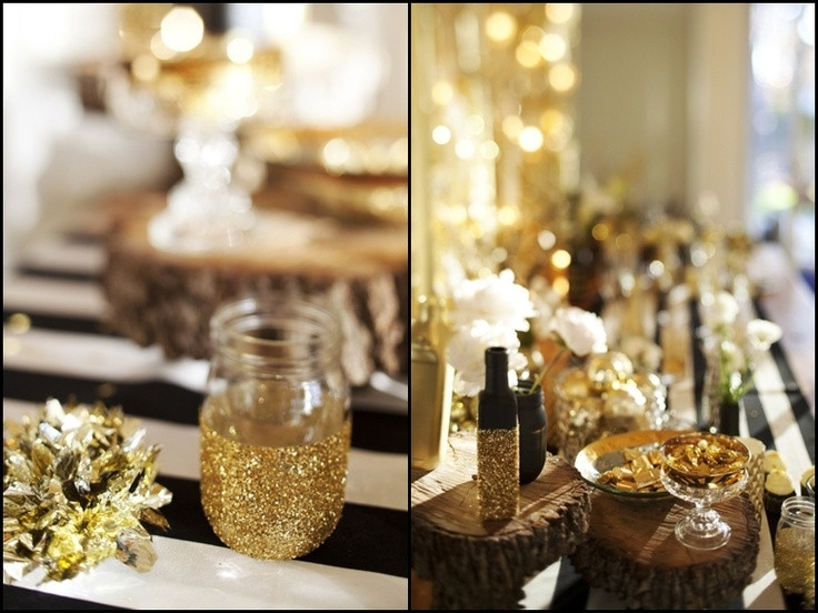 Black And Gold Engagement Party Ideas  NYE Party Black White Gold Parties