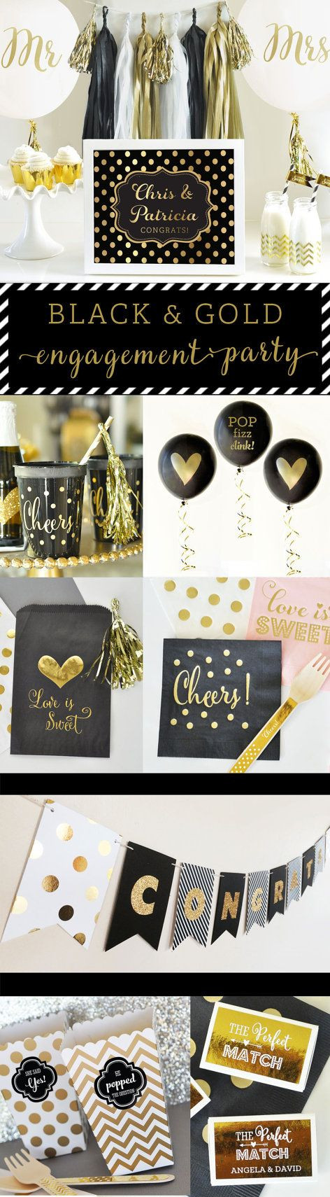 Black And Gold Engagement Party Ideas  17 Best ideas about Black Gold Party on Pinterest