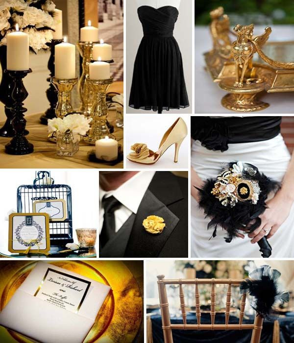 Black And Gold Engagement Party Ideas  Black and Gold Wedding Theme Ideas From Favors to