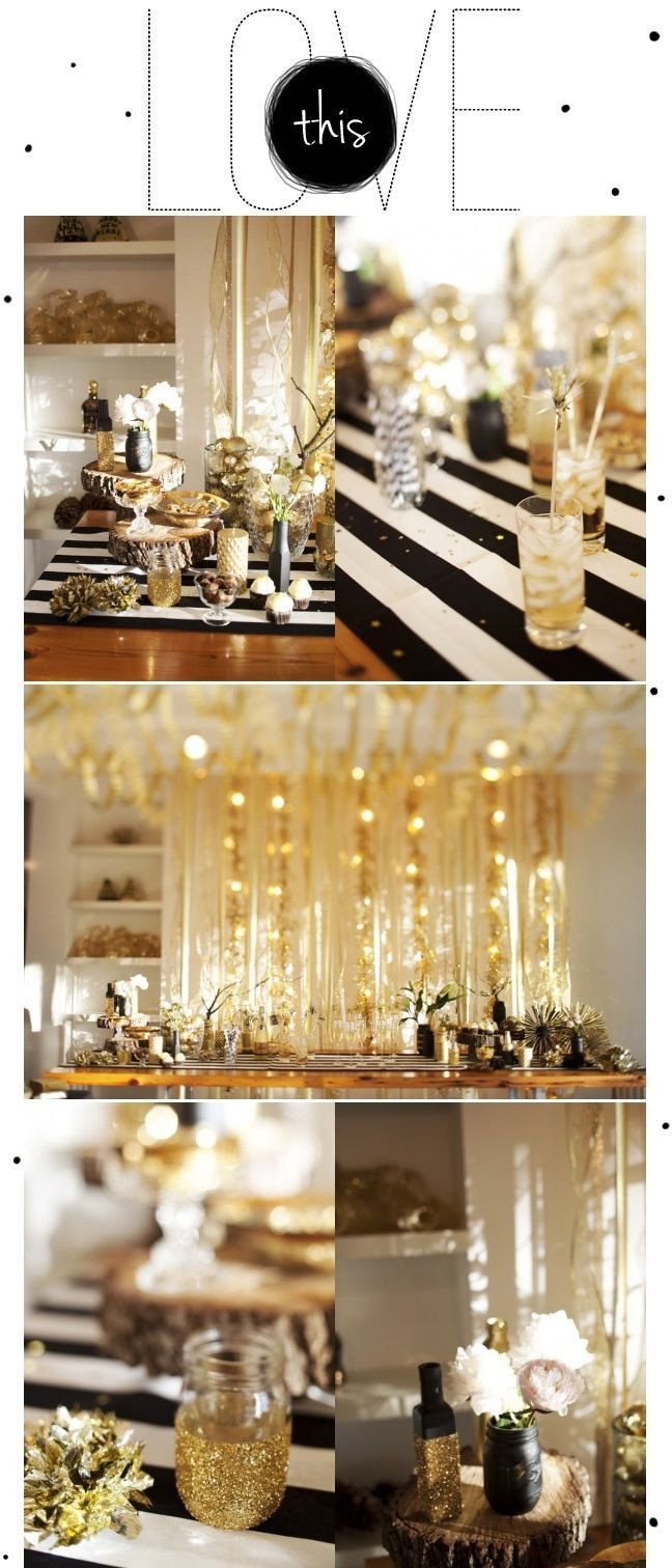 Black And Gold Engagement Party Ideas  Black white or ivory with pops of gold