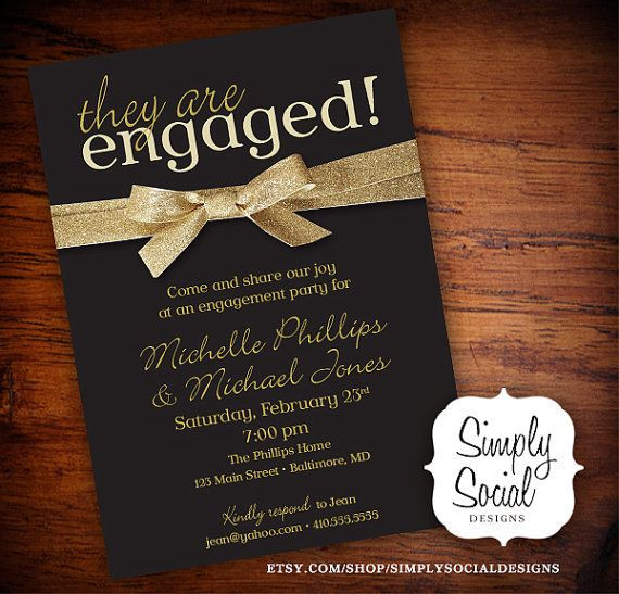 Black And Gold Engagement Party Ideas  Engagement Party Invitation Black and Gold Glitter Ribbon