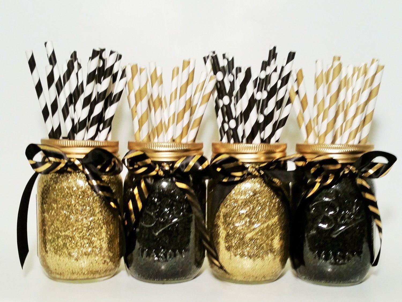 Black And Gold Engagement Party Ideas  Graduation Party Decorations Mason Jar Centerpiece