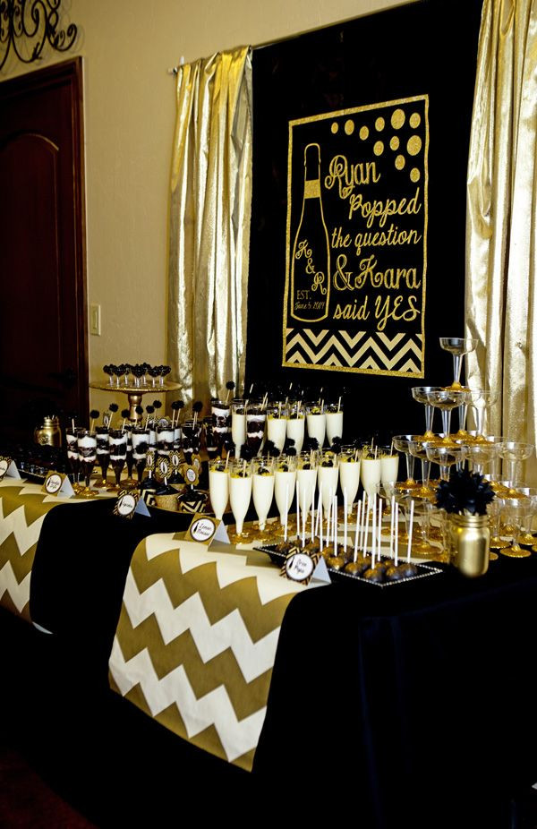 "Black And Gold Engagement Party Ideas  Black and Gold Bridal Shower ""He Popped the Question"