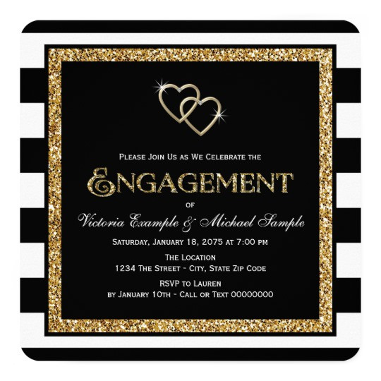 Black And Gold Engagement Party Ideas  Black and Gold Engagement Party Card