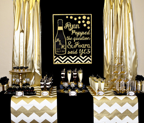 Black And Gold Engagement Party Ideas  Gold and Black Party Champagne Bridal Shower