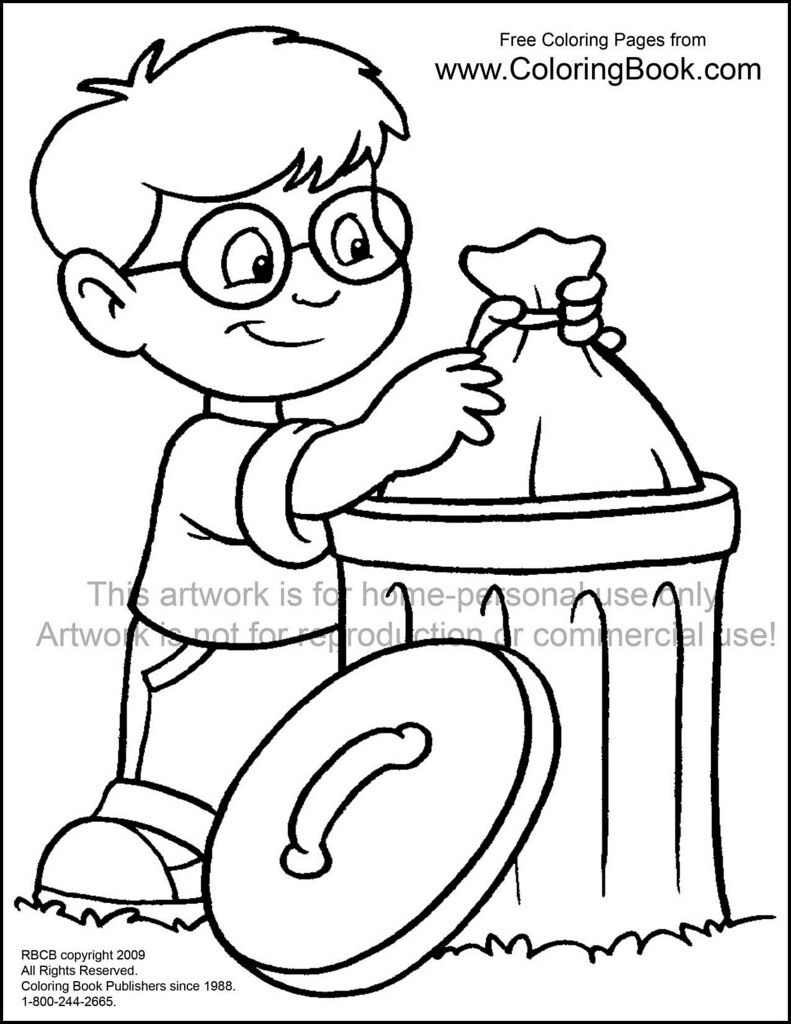 Boys Coloring Pages Garbage Pale Kids  kid with trash free coloring page Wayne Bell