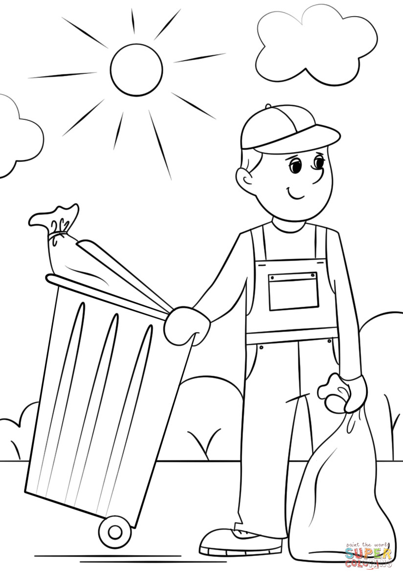 Boys Coloring Pages Garbage Pale Kids  Garbage Collector coloring page
