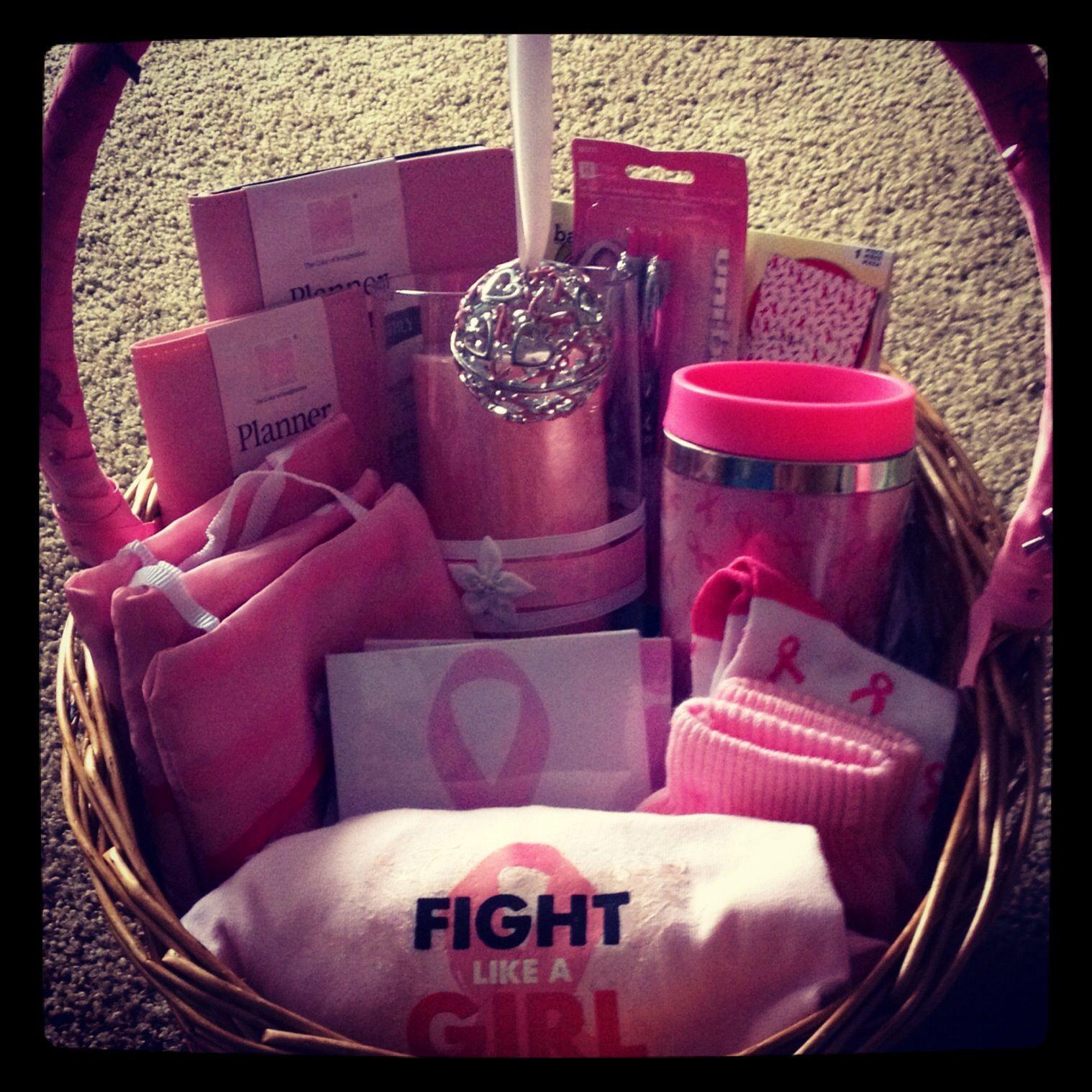 Breast Cancer Gift Basket Ideas  Breast cancer awareness basket