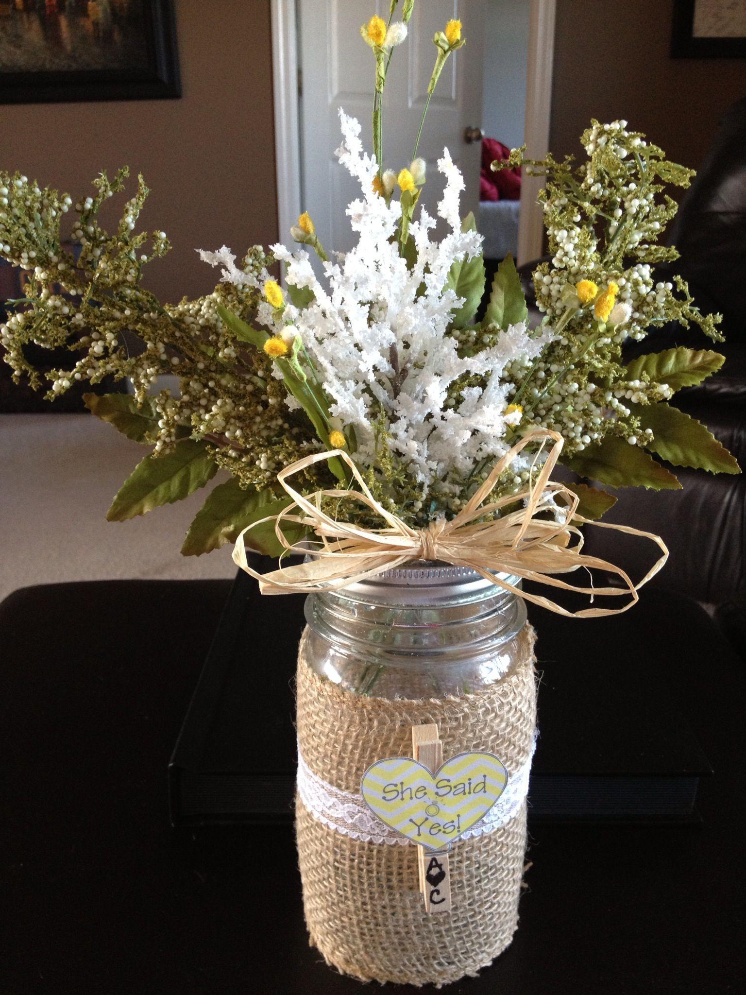 Centerpiece Ideas For Engagement Party  Burlap Mason Jar Engagement Party Decor KeslerKreations