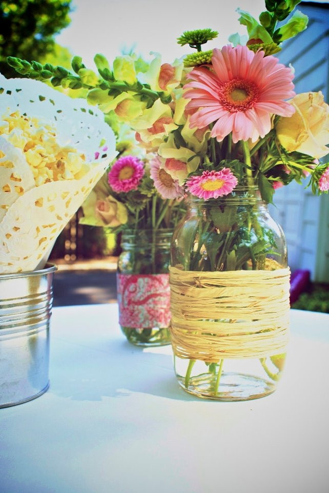 Centerpiece Ideas For Engagement Party  Mason Jars with flowers engagement party decorations