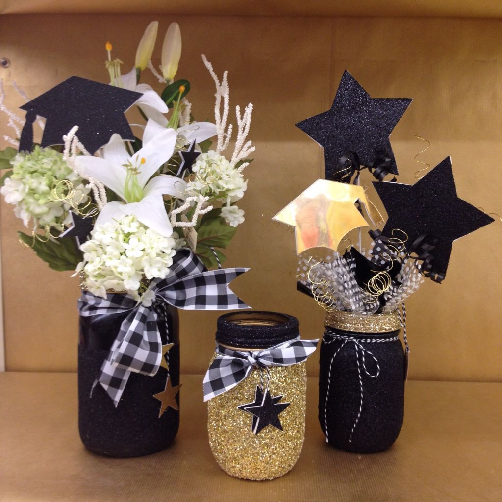 Centerpiece Ideas For Graduation Party  Graduation centerpiece glittered black and gold masonjar
