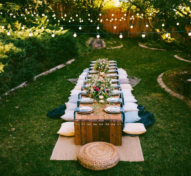 Cheap Backyard Party Ideas  10 Tips to Throw a Boho Chic Outdoor Dinner Party Green