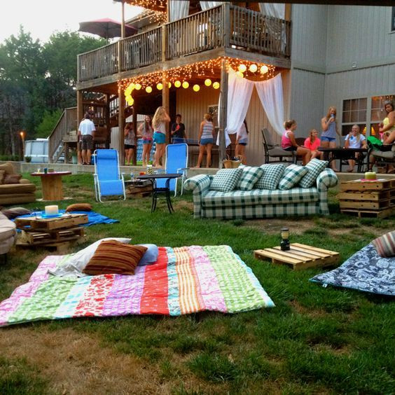 Cheap Backyard Party Ideas  Outdoor movie night Swimming movie and s mores