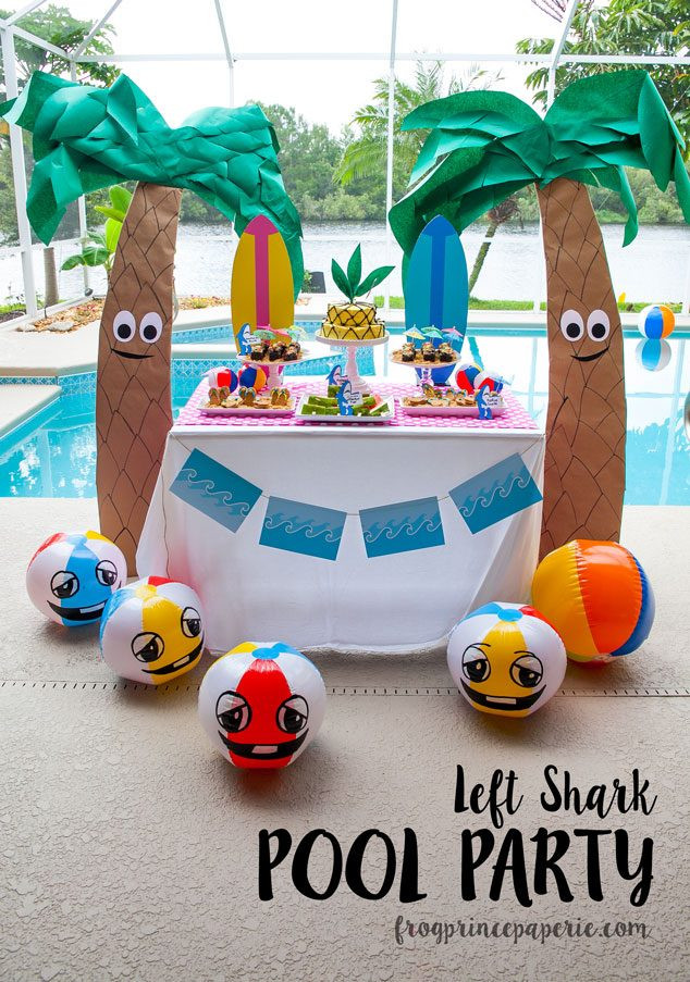 Cheap Pool Party Ideas  Left Shark Pool Party Ideas on a Bud Frog Prince Paperie