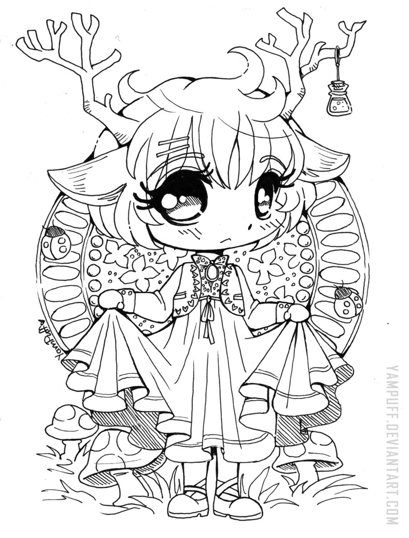 Chibi Boys Coloring Pages  Little Deer Chibi Open Lineart by YamPuff on DeviantArt