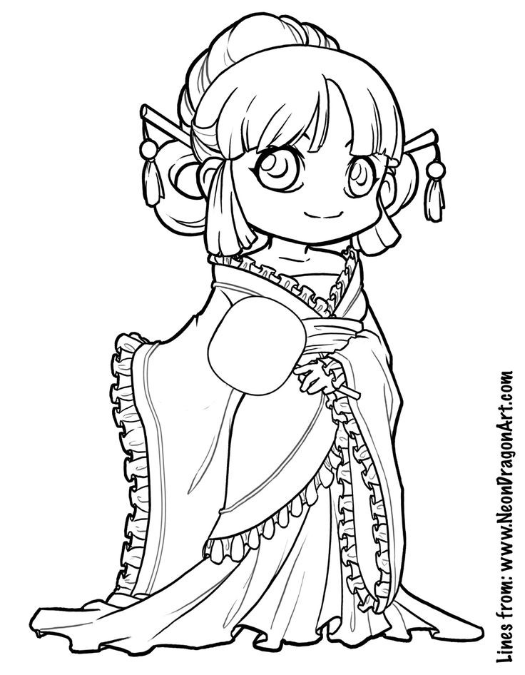 Chibi Boys Coloring Pages  Tang dynasty coloring page Art Tips