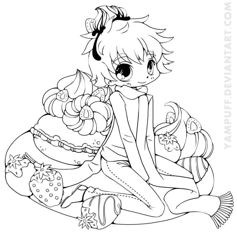 Chibi Boys Coloring Pages  Strawberry Boy Chibi mission Lineart by YamPuff on