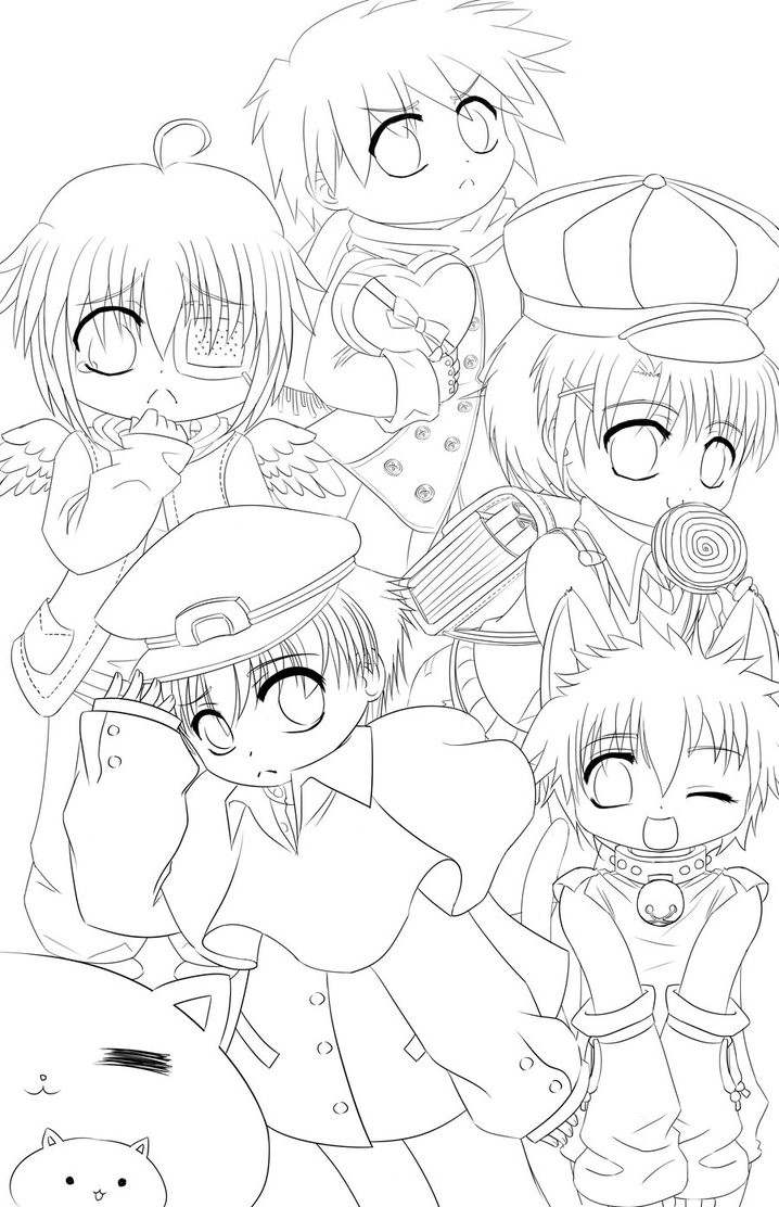 Chibi Boys Coloring Pages  Chibi Boys Line Art by nightmaresky on DeviantArt