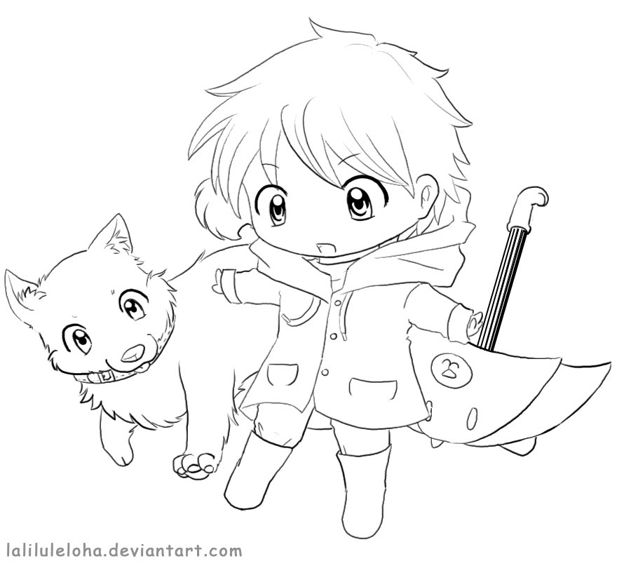 Chibi Boys Coloring Pages  Chibi Line art Allowed to Color it by laliluleloha on