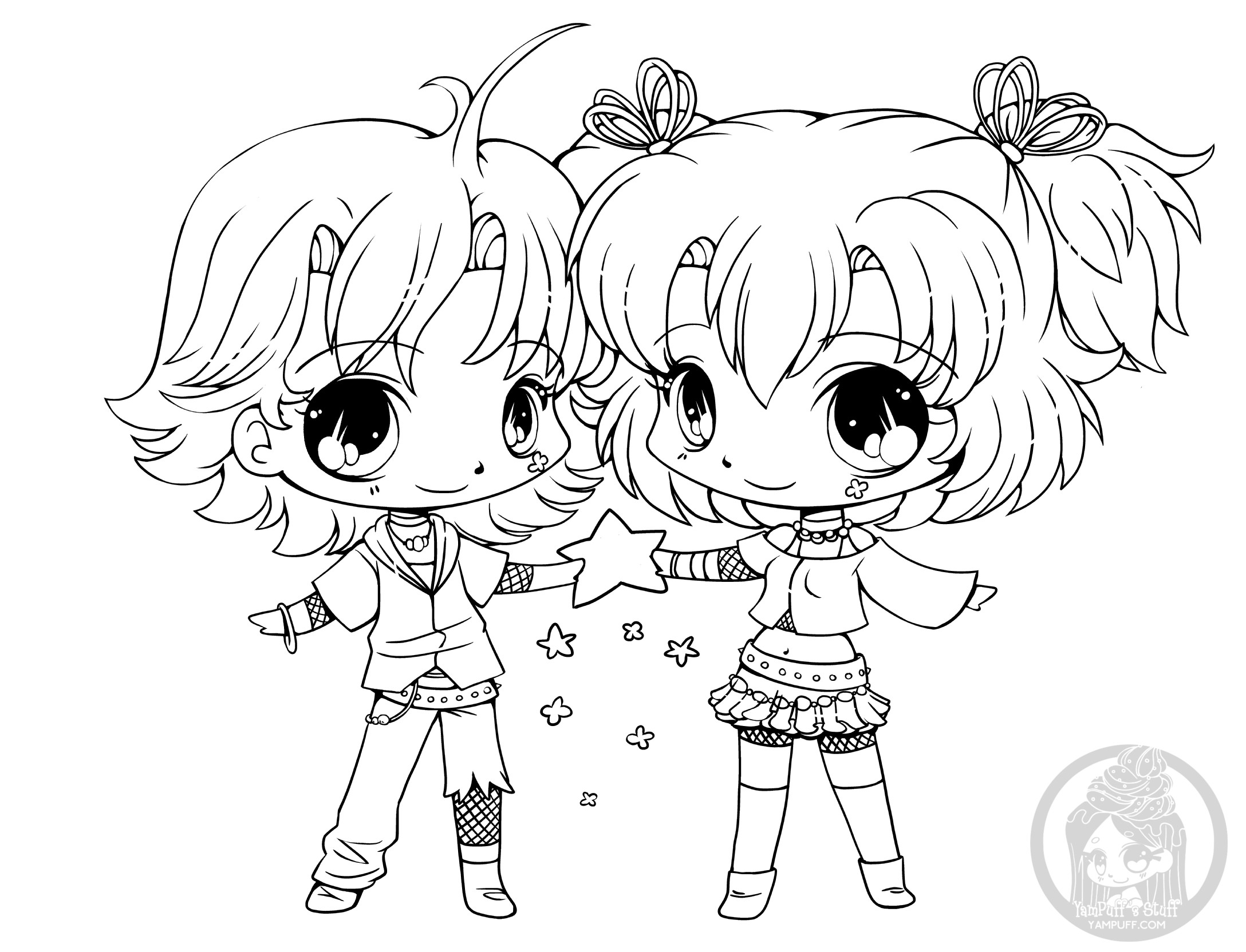 Chibi Boys Coloring Pages  Chibis Free Chibi Coloring Pages • YamPuff s Stuff