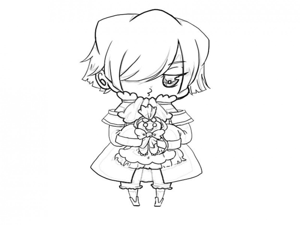 Chibi Boys Coloring Pages  Anime Boy With Hoo Coloring Pages