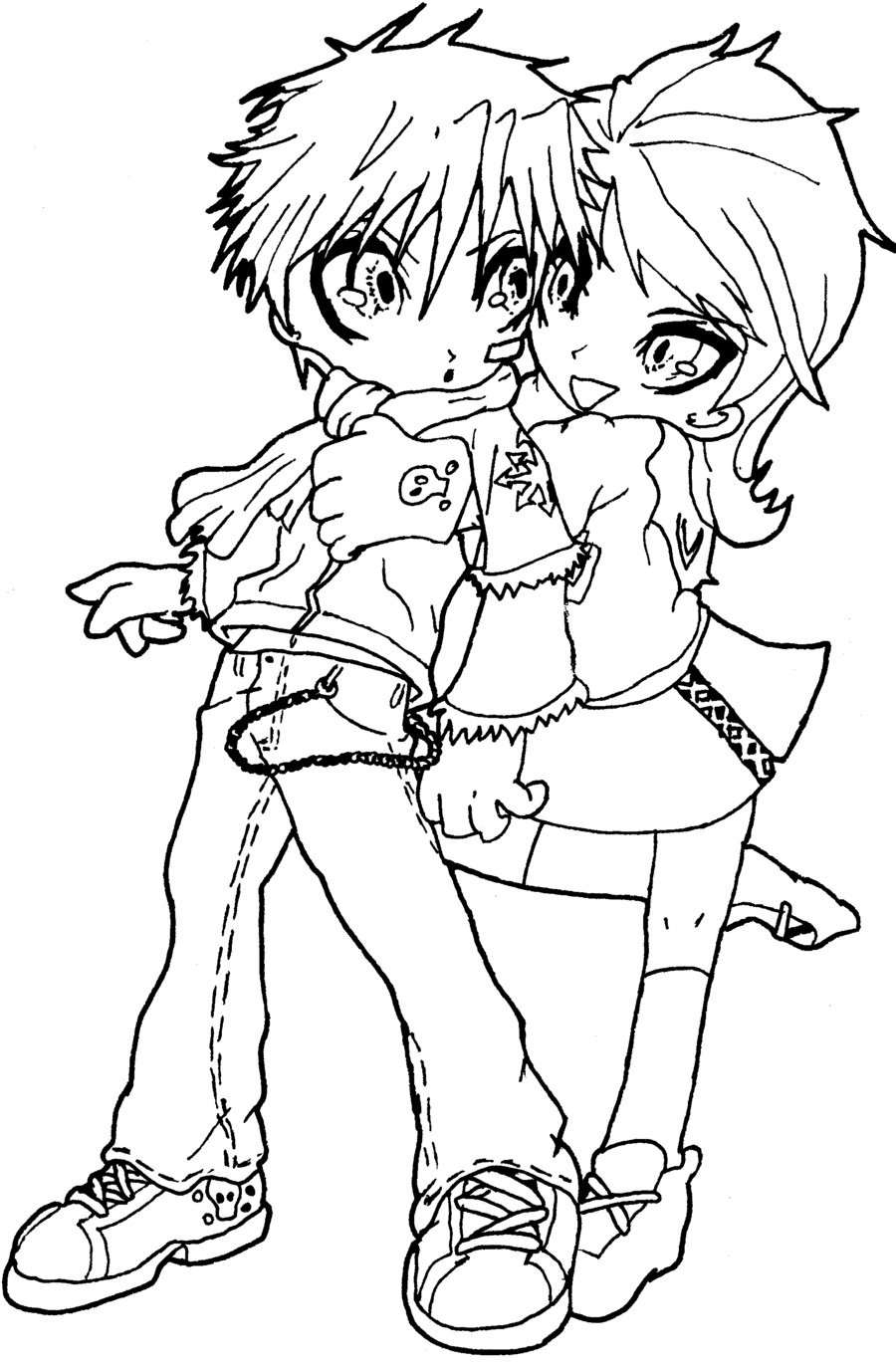 Chibi Boys Coloring Pages  Chibi Couple lineart version by Hamsterbag on DeviantArt