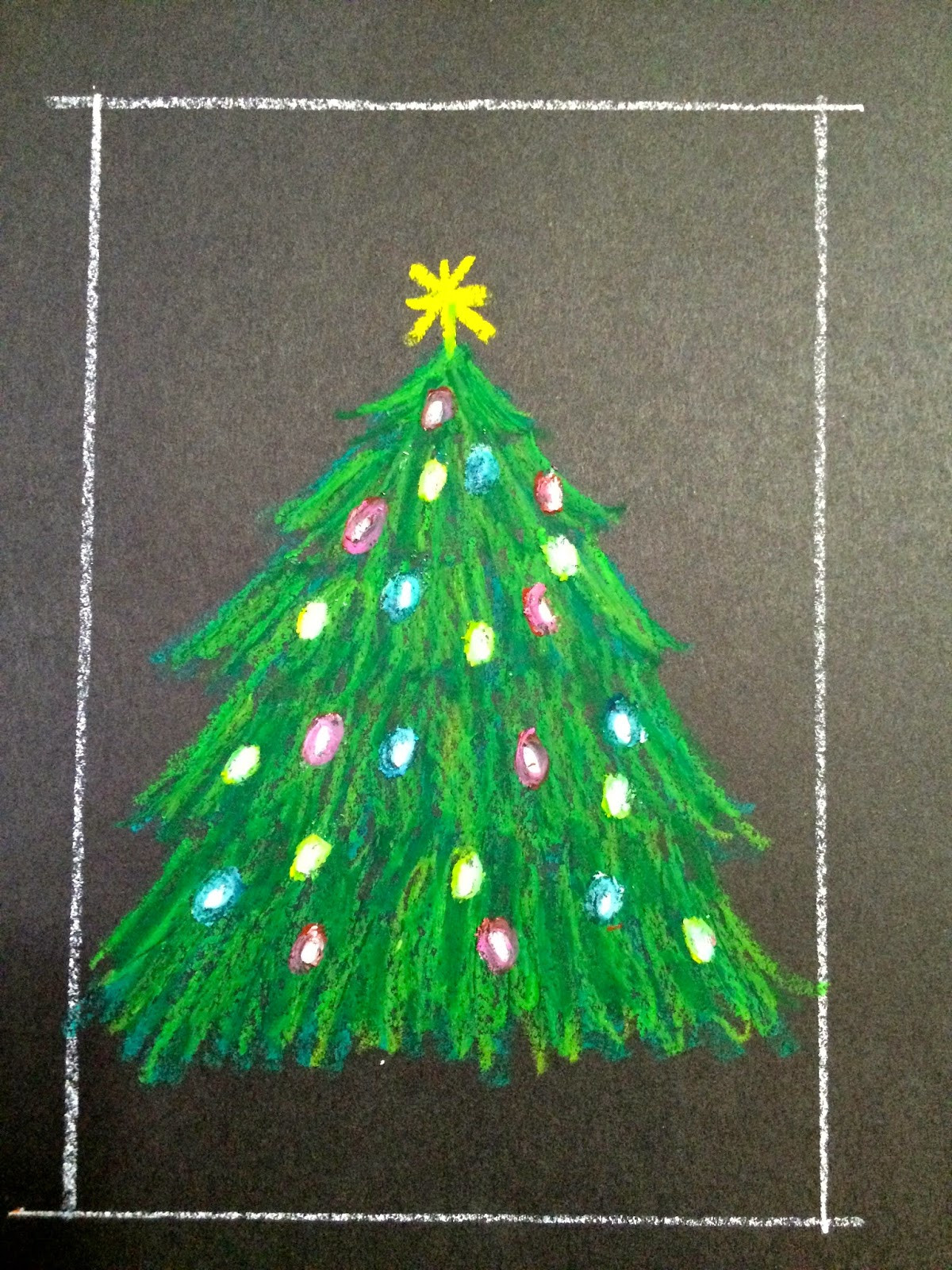 Christmas Arts Ideas  Kathy s Art Project Ideas Oil Pastel Christmas Tree in a