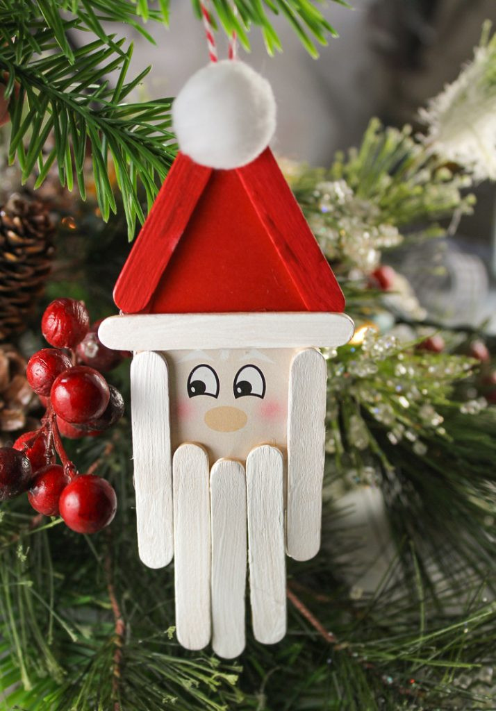 Christmas Homemade Craft  Popsicle Stick Santa Christmas Craft for Kids