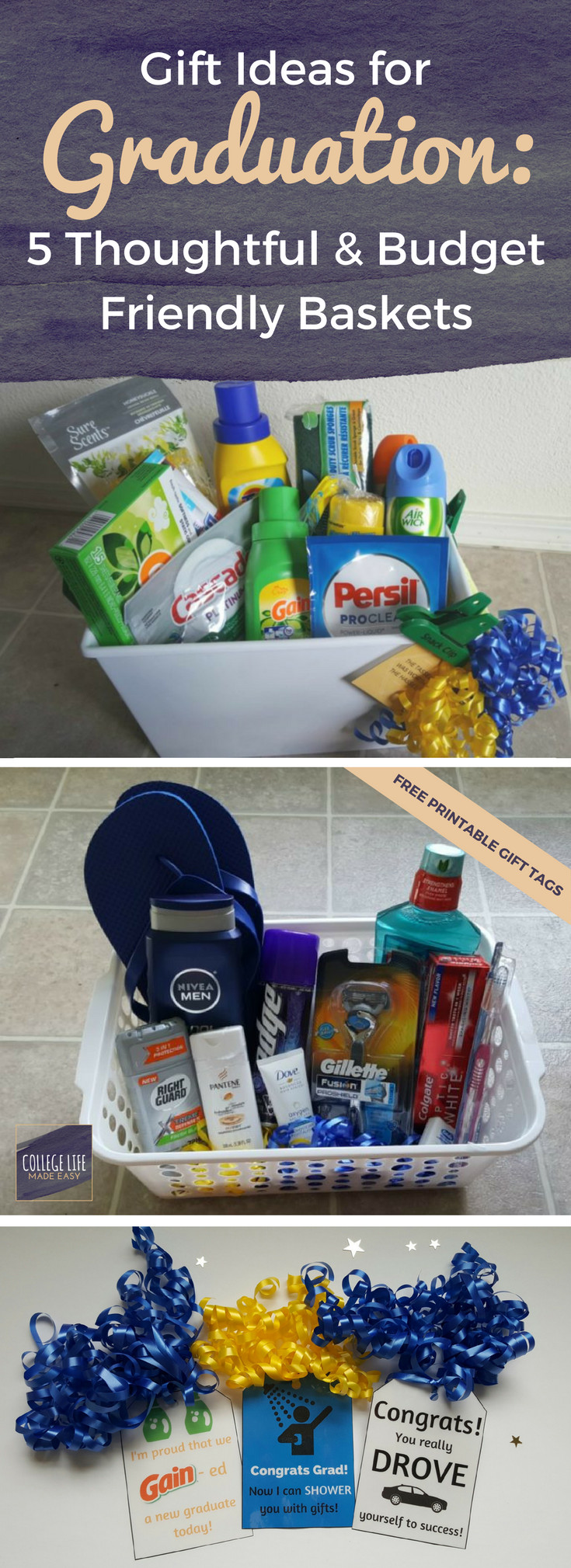 College Graduation Party Ideas For Her  5 DIY Going Away to College Gift Basket Ideas for Boys